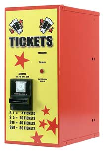 Ticket dispenser accepts $1,$5,$10,$20 - American Changer AC115