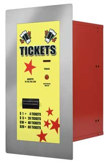 Ticket dispenser accepts $1,$5,$10,$20 - American Changer AC125