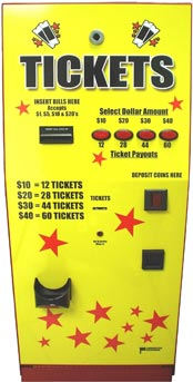 Ticket dispenser accepts $1,$5,$10,$20 - American Changer AC110