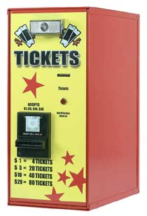 Ticket dispenser accepts $1,$5,$10,$20 - American Changer AC111